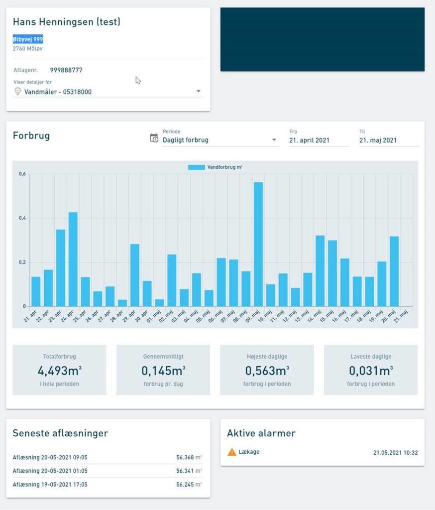 Et eksempel fra BD Forsyning på skærmvisning for et forbrug henover en periode